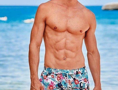 Șort de baie TLLTDQ David Hawai pentru bărbați cu chilot din plasă și imprimeu multicolor
