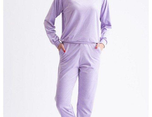 Trening de damă HDVS din catifea lila cu bluză de trening cu glugă și pantaloni cu buzunare