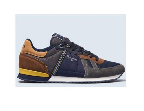 Pantofi sport GSW2BL Pepe Jeans pentru bărbați, bleumarin, din piele întoarsă, cu aspect colorblock