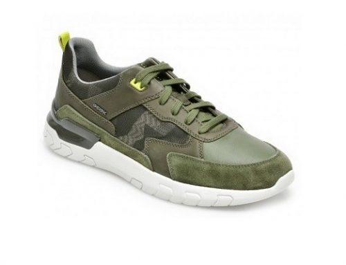 Geox EDLKHW, pantofi sport pentru bărbați kaki din piele naturală cu talpă plată