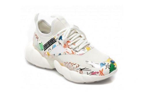 Pantofi sport de damă Gryxx albi din piele ecologică cu imprimeu multicolor