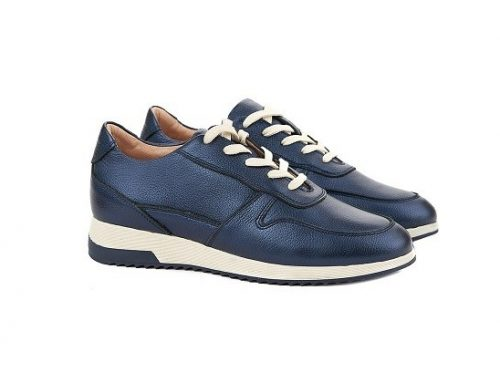 Pantofi sport TDLKHW Superlative de damă albaștri din piele naturală cu talpă plată