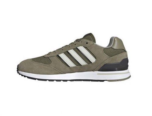 Pantofi sport GDQWL Adidas Run oliv pentru bărbați cu talpă plată și inserție de piele întoarsă