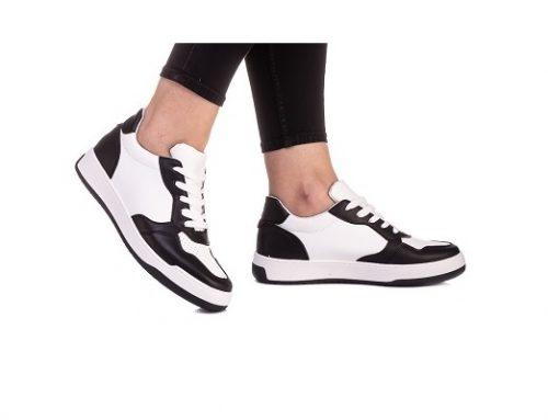 Carta WDSKL, pantofi sport de damă negri din piele ecologică cu talpă plată