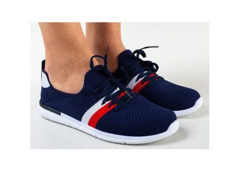 Pantofi sport Mikys pentru femei bleumarin din material textil și cu talpă plată