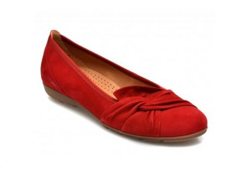 Balerini ULDW3S Gabor de damă roșii din piele naturală întoarsă cu toc plat