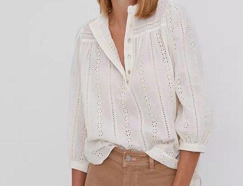 Bluză de damă WBDFL Answear lejeră albă din bumbac subțire cu mâneci trei sferturi