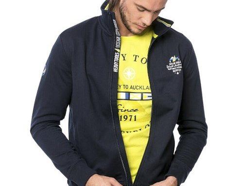Bluză sport WLFTSM Heavy Tools pentru bărbați din bumbac, albastră, cu fermoar și guler înalt