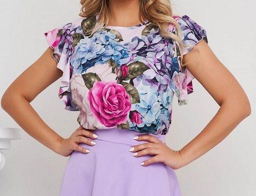 Bluză elegantă StarShinerS de damă cu imprimeu floral, mâneci scurte și accesorizată cu volănașe