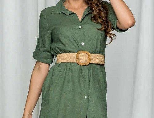 Cămașă lungă LKLNDE Frida de damă stil rochie verde cu mâneci reglabile și curea în talie