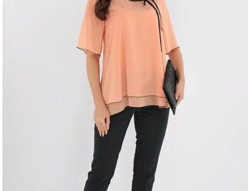 Compleu KLHLDF TrendLand de damă elegant cu bluză din voal piersică și pantaloni negri satinați
