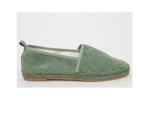 Espadrile BDLF3E Answear de damă verde mentă din piele naturală întoarsă cu talpă plată