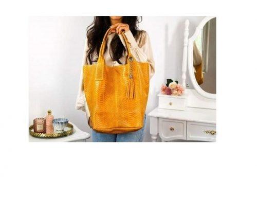 Set geantă și portofel TSFHSW Karly de damă galbenă din piele naturală, de umăr, cu model snake