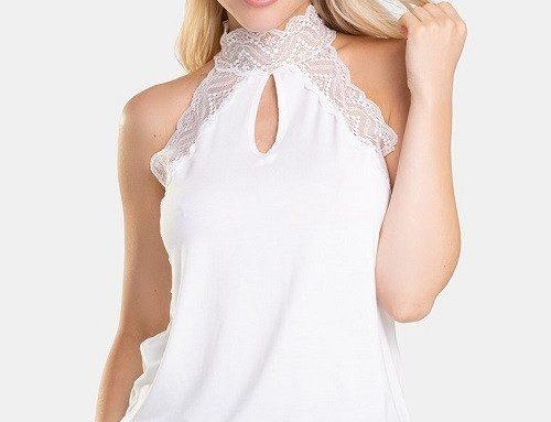 Maiou de damă Eldar Fabrizia de stradă elegant alb subțire cu dantelă pe gât