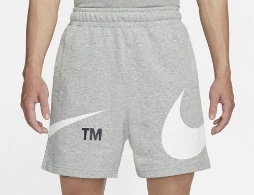 Nike Swoosh LNMH3Q, pantaloni scurți bărbați sport drepți gri din bumbac