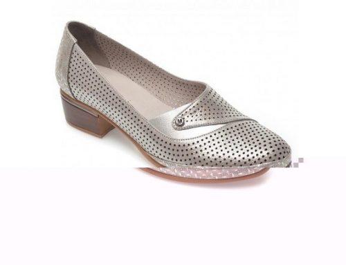 Pantofi de damă Flavia Passini din piele naturală, argintii, cu toc masiv mediu