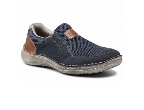 Pantofi pentru bărbați EDL34SW Reiker casual slip-on bleumarin cu talpă plată