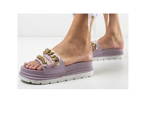 Ayat FLHLEW, papuci de damă mov de stradă cu platformă și aplicații metalice aurii