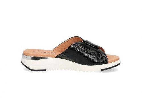 Papuci de damă Caprice negri din piele naturală cu platformă și talpă wedge