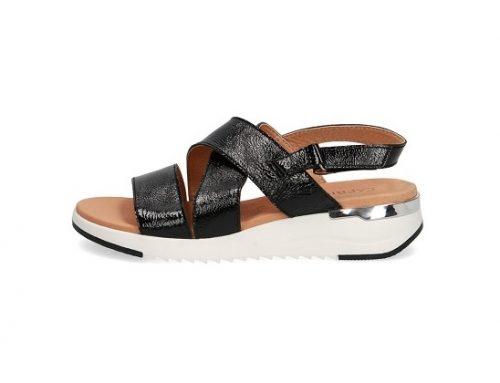 Sandale de damă Caprice negre casual din piele naturală cu talpă wedge și închidere cvelcro