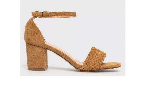 Answear LTLKDE, sandale de damă office maro auriu cu toc gros, din piele întoarsă eco