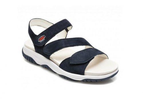 Sandale YDDFLW Gabor de damă casual bleumarin din piele năbuc, fără toc și cu talpă plată
