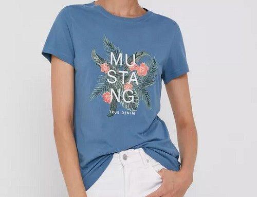 Tricou albastru GLHLEW Mustang de damă casual din bumbac cu imprimeu floral