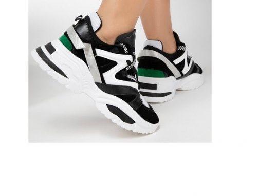 Pantofi sport DLKWM Giants de damă negri din piele ecologică cu platformă