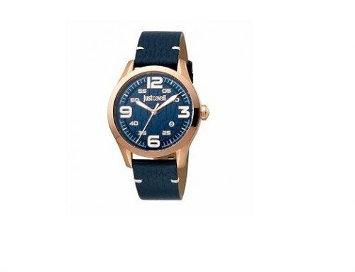 Ceas Just Cavalli Young pentru bărbați albastru, 10ATM, brățara din piele naturală, mecanism Quartz