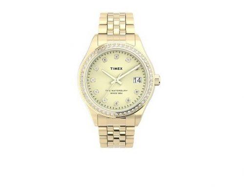 Timex Waterbury LKSWLD, ceas de damă elegant auriu cu mecanism Quartz, 5ATM și carcasă rotundă