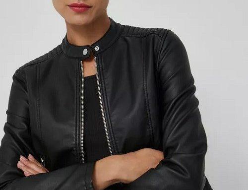 Geacă scurtă DLDSWL Medicine de damă stil Biker dreaptă neagră din piele ecologică