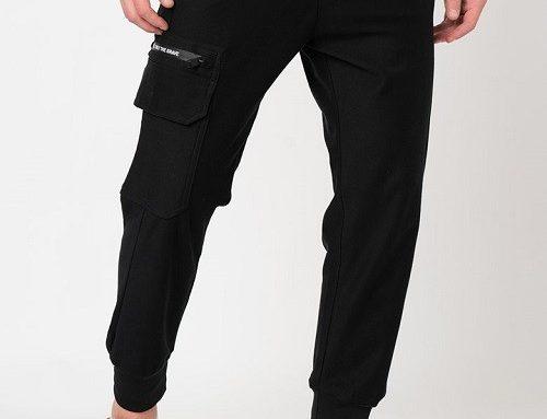 Pantaloni casual Diesel P-Hierro pentru bărbați din bumbac, negri, cu șnur în talie și buzunar pe picior