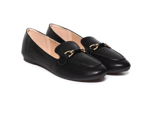 Amity LGLDSEW, pantofi de damă casual negri din piele ecologică cu toc plat și talpă joaă