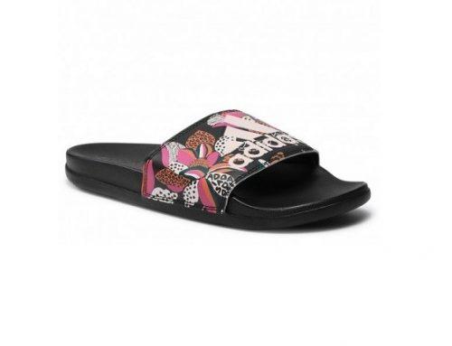 Adidas Adilette LSWLK, șlapi de plajă de damă sport cu imprimeu multicolor și talpă plată anti-derapantă
