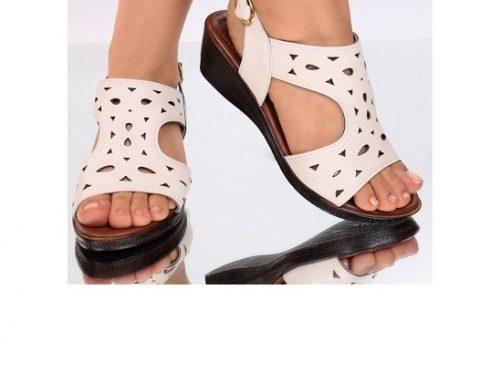 Sandale casual Labonita pentru femei, crem, din piele ecologică și cu platformă