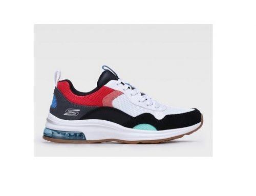 Skechers HLKQFK, pantofi sport de damă multicolori cu talpă plată, din material textil și piele