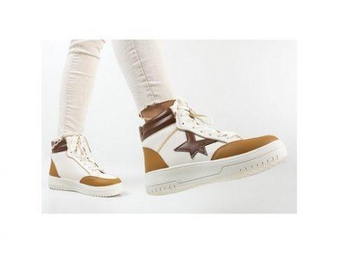 Pantofi sport de damă Rafe înalți bej din piele ecologică cu talpă plată