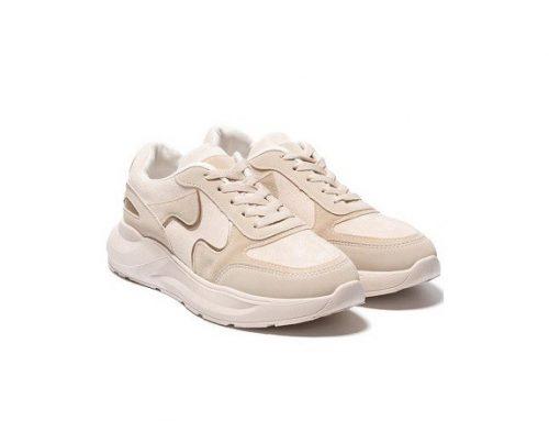 Pantofi sport de damă DSBFSQL Rosana bej din piele întoarsă eco și cu talpă plată