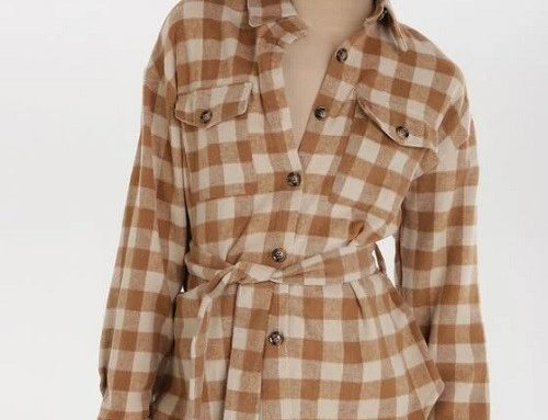 BornBe QSBFLH, cămașă de damă lejeră din bumbac cu imprimeu în carouri și cordon în talie