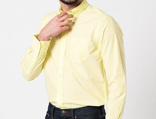 Cămașă office WTLKQH Gant pentru bărbați, din bumbac, galben pal cu mânecă lungă