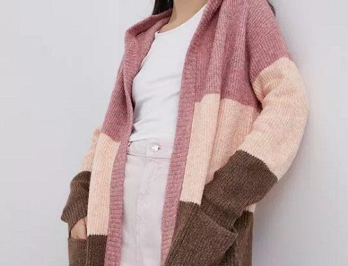 Jacqueline de Yong LHSMQ, cardigan de damă lung tricotat roz cu glugă și buzunare