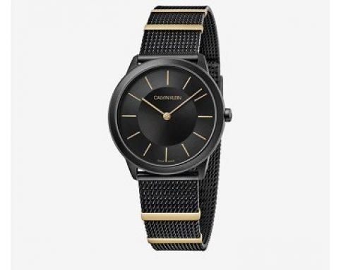 Ceas SMFLWQ Calvin Klein de damă casual negru cu brățara din metal, 3ATM, mecanism Quartz
