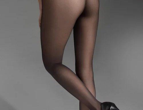 Ciorapi de damă eleganți Marilyn Lux cu talie înaltă, semi-transparenți, cu aplicații cu dantelă