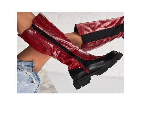 Cizme de damă casual Allison roșii îmblănite din piele ecologică și îmblănite