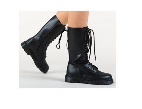 Kriska DLGFSWH, cizme de damă stil bocanci negre cu șiret în față și talpă plată