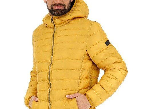 Geacă de fâș WDFEMQ Lotto Cortina și cu glugă pentru bărbați, scurtă, galben muștar