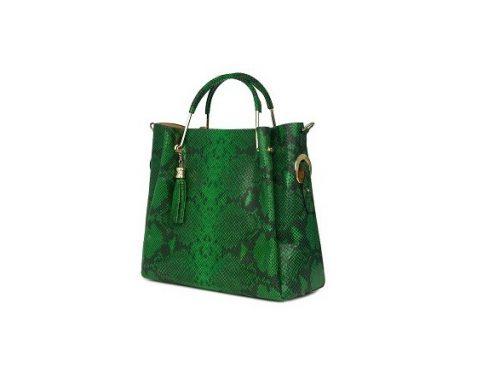 Geantă de damă elegantă Fabiana de mână din piele naturală, verde, cu model piele de șarpe