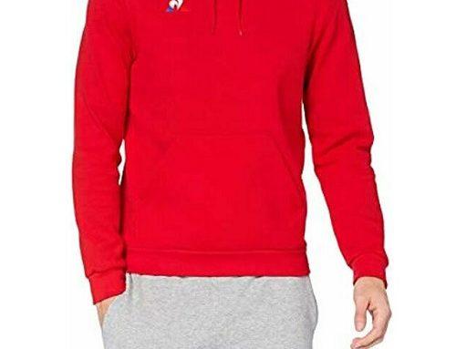 Hanorac sport QMFLDL Le Coq Sportif pentru bărbați din bumbac, roșu, cu glugă
