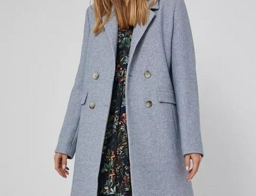 Palton albastru deschis BGBFSQL Medicine Essential de damă, drept, din amestec cu lână