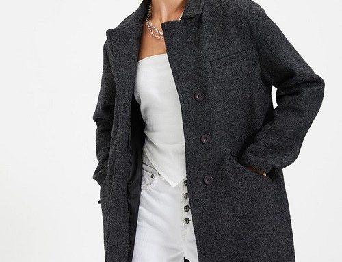 Trendyol LSKDMQ, palton de damă casual din amestec din lână, gri antracit și cu cu revere